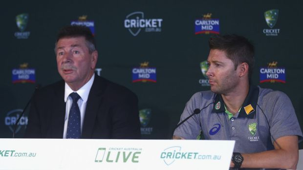 Chairman of selectors Rod Marsh and Michael Clarke at the announcement of Australia's World Cup squad in Sydney on Sunday.