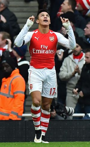 Arsenal's Chilean striker Alexis Sanchez looks to the heavens after scoring for the Gunners on Sunday.