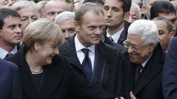 Germany's Chancellor Angela Merkel, European Council President Donald Tusk and Palestinian President Mahmoud Abbas.