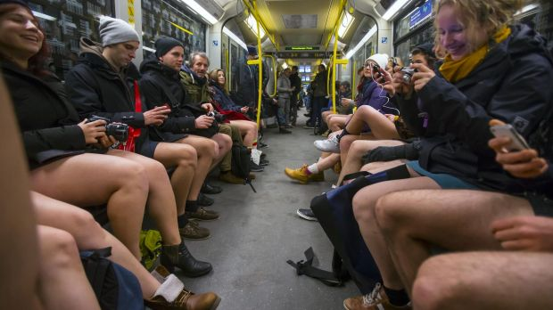"People take part in the annual ""No Trousers On The Tube Day"" event in Berlin."
