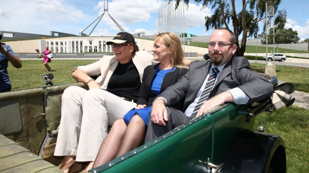 Labor Senator Kate Lundy, Liberal MP Fiona Scott and Senator Ricky Muir launch the Parliamentary Friends of Motoring in ...