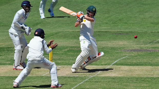 Hitting out: Jake Doran bats for the Cricket Australia XI during the international tour match against India at Gliderol ...