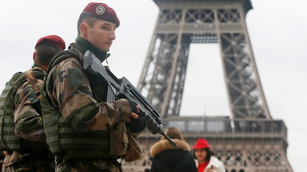 French soldiers at the Eiffel Tower after the Paris shootings.