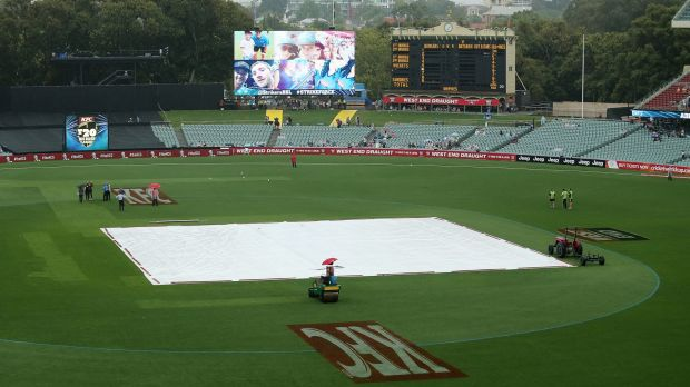 Waterlogged: Rain delayed the start to the BBL clash before it was eventually abandoned.