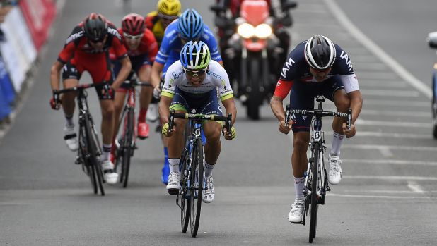 Flying finish: Orica-GreenEDGE's Caleb Ewan (white jersey).