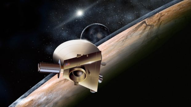 An artist's design showing the New Horizons probe heading towards Pluto.