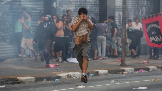 Tear gas was used by police in the Sao Paulo bus fare protest.