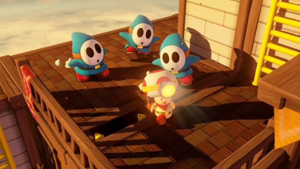 The usually ho-hum shy guy becomes terrifying and quick in <i>Captain Toad</i>, and is often used to guard treasure and ...