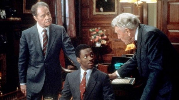 Trust issues: Billy Ray Valentine with Randolph and Mortimer Duke after the initial deal was done in Trading Places.