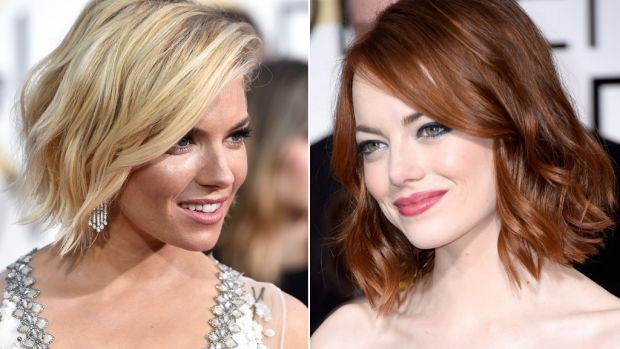The style du jour: Sienna Miller and Emma Stone both rocked the shaggy LOB on the Golden Globes red carpet.
