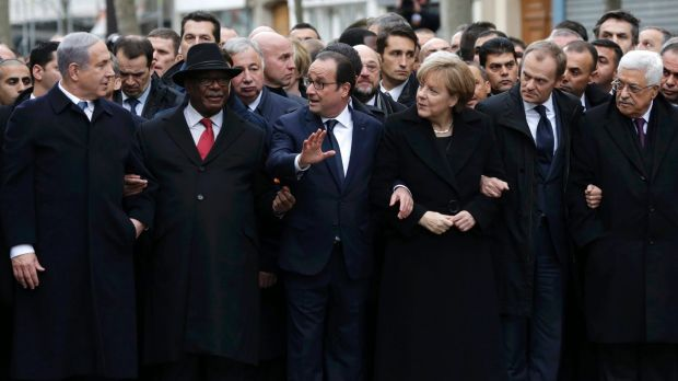 Front row: German Chancellor Angela Merkel surrounded by French President Francois Holland,  Israel's Prime Minister ...