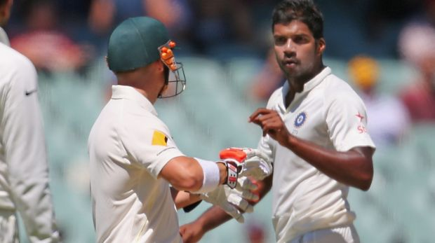Flashpoint: Varun Aaron of India and David Warner of Australia at the Adelaide Oval.