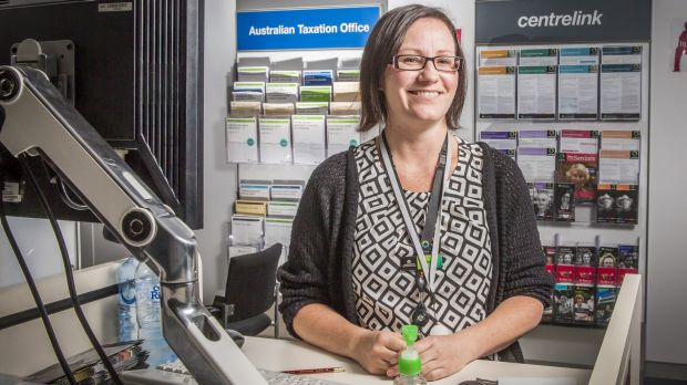 Human Services customer service member Joan Berrigan at the new centre in Woden that helps people manage Centrelink, ...