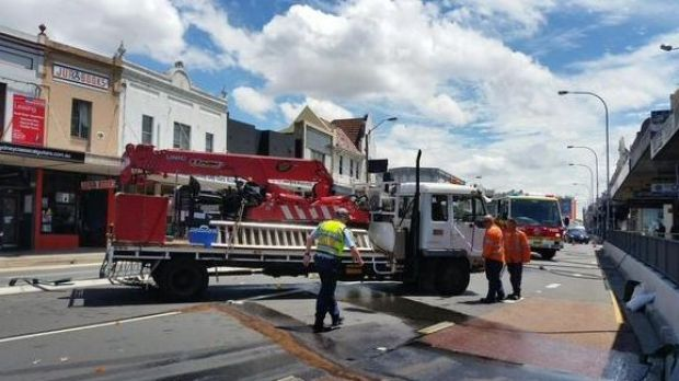 All citybound lanes closed on Parramatta Road at Leichhardt after a truck collided with a barrier.