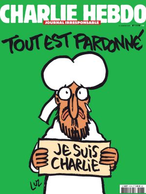 "The frontpage of the upcoming ""survivors"" edition shows a cartoon of the Prophet Muhammed holding up a ""Je suis Charlie"" ..."