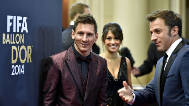 I hear you might be looking for a new club: Alessandro del Piero and Lionel Messi at the Ballon d'Or presentation.
