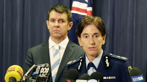 Respect: NSW Premier Mike Baird, left, has spoken out in support of Deputy Police Commissioner Catherine Burn.
