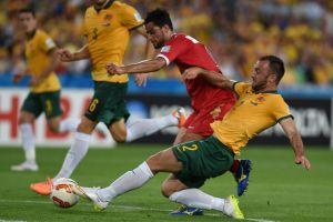 Clean sheet: Ivan Franjic and the Socceroos defenders had an easy night.