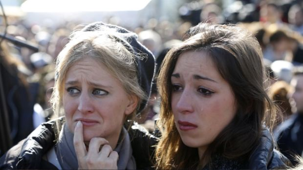 Mourners at funeral procession in Jerusalem for victims of Paris terror attack.