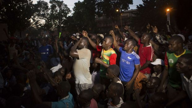 Protest outside the military headquarters in Ouagadougou in October.
