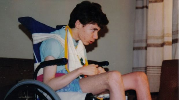 Martin Pistorius in his wheelchair in 1992