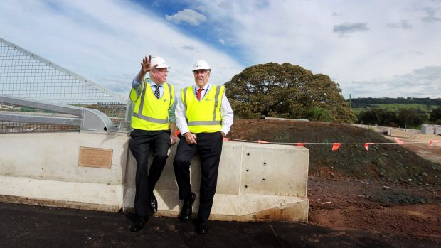 Gareth Ward and NSW Roads Minister Duncan Gay inspect roadworks on the Princes Highway.