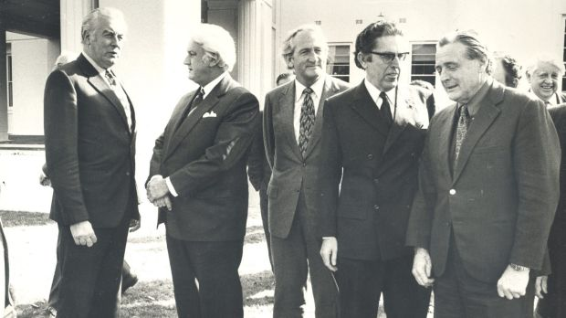 Members of the executive council met the Governor-General Sir John Kerr at Government House. (From left) Gough Whitlam, ...