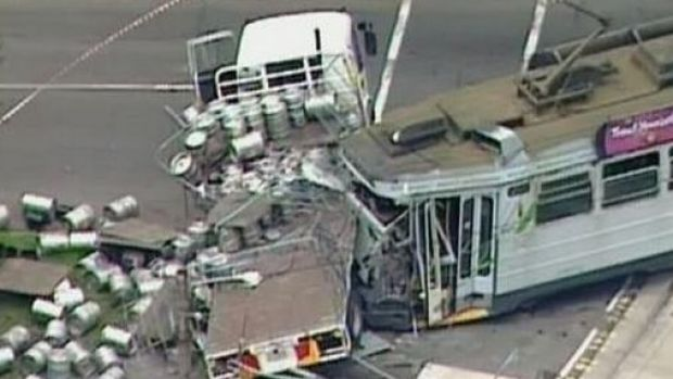 Up to 30 people were on the tram at the time of the crash.