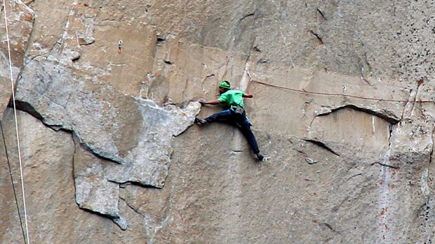 Kevin Jorgeson climbs on what is known as Pitch 15.