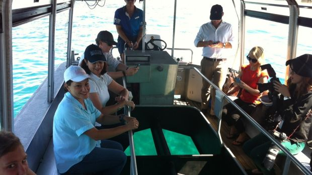 Annastacia Palaszczuk and Jackie Trad get a close-up view of the Great Barrier Reef.