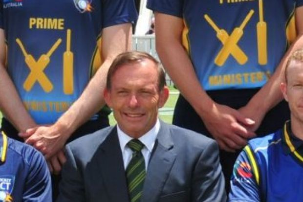 Tony Abbott joins a team photograph with the PM's XI team ahead of January's match. The 2015-16 summer match has been ...