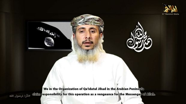 This image grab from a video posted online on Wednesday by Al-Malahem Media, the media arm of Al-Qaeda in the Arabian ...