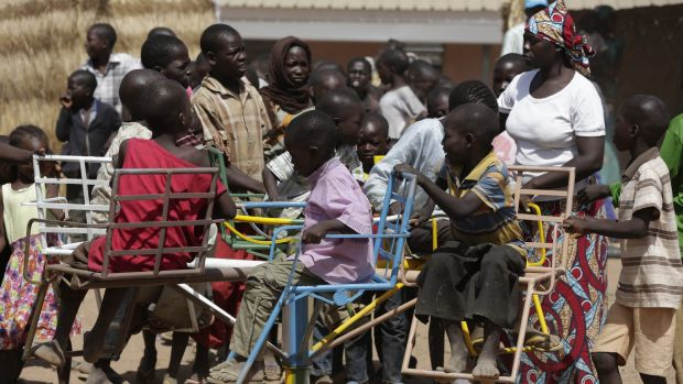 At play: Children displaced after attacks by Boko Haram, play in the camp of internal displaced people, in Yola, Nigeria.