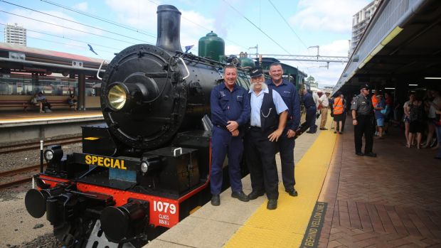 Betty the steam engineand her crew at Roma Street Station, as QR marks its 150th birthday.