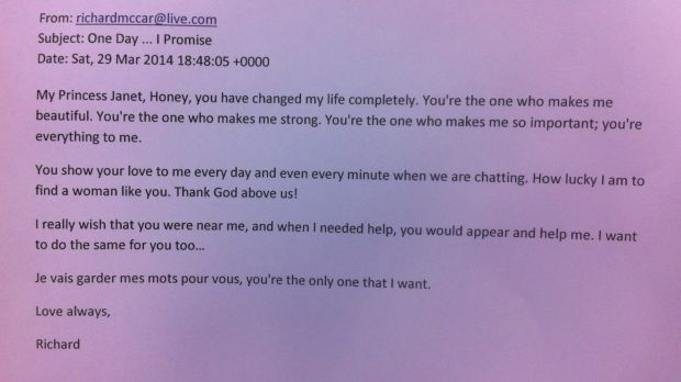 """An excerpt from an email sent to Janet by her scam online """"love""""."""