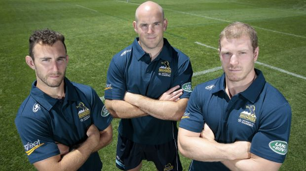 Brumbies captain Stephen Moore, centre, will be joined by Nic White, left, and David Pocock in the leadership group.