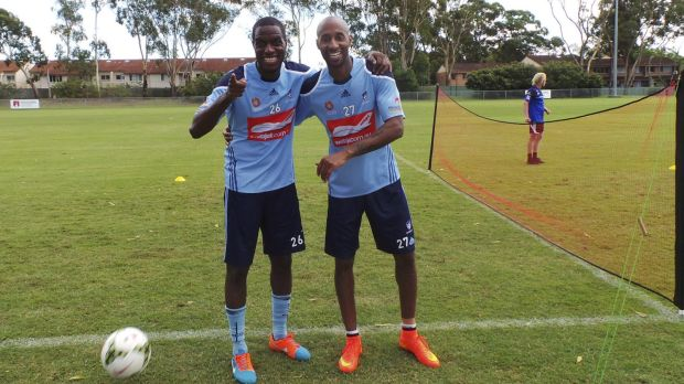 French connection: New Sydney FC recruits Jacques Faty and Mickael Tavares.