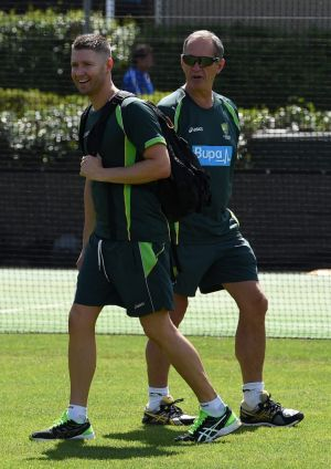 Back in action: Michael Clarke returned to the nets.