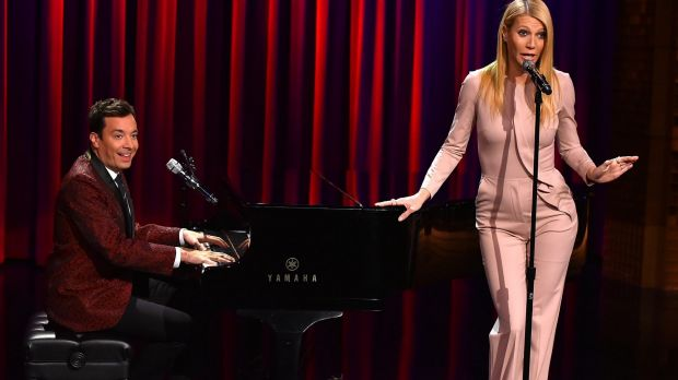 Paltrow appearing with Jimmy Fallon on the Tonight Show.