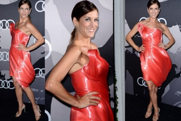 THE BAD: Here's Kate Walsh wearing a liquid nylon (whatever that is) Rubin Singer dress. Things she looks like ... 1) A ...