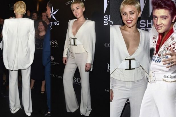 THE BAD: Speaking of Miley, here she is in a design by Balmain. At least she has a sense of humour about the costumey ...