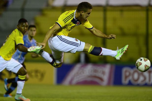 Colombia's forward Rafael Borre kicks the ball during the South American U-20 football match against Uruguay.