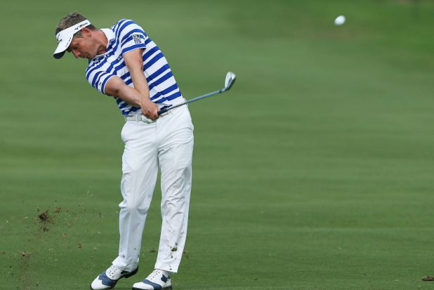 Luke Donald of England plays his second shot on the 15th hole during the first round of the Sony Open In Hawaii.