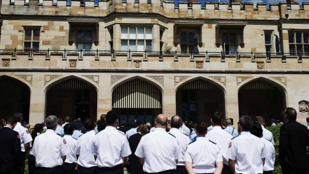 NSW Police and emergency services workers who assisted during the Lindt Cafe siege gathered at NSW Government House to ...
