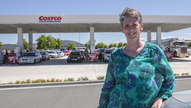 Mary Colls of Belconnen was happy enough to wait in line for the low fuel prices at Costco.