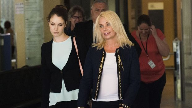 Support: Mr Lazar's partner Angeline Aamariah, left, and her mother Louise Anne Nelson leave Downing Centre Local Court ...