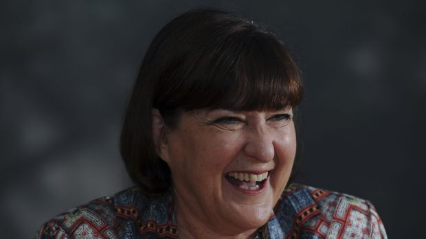 Chris Faulks, who is stepping down as CEO of Canberra Business Chamber, in her Braddon office on Friday.