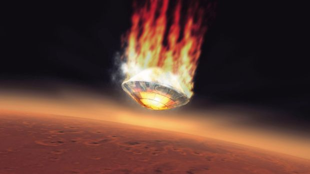 Blaze of glory: An artist's impression of how Beagle 2 would look landing on Mars.