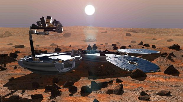 A picture released in May 2002 shows a simulation of Beagle 2 on the martian surface.