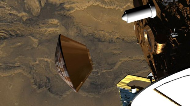 An undated computer-generated image shows the Beagle 2 lander craft leaving the Mars Express mothership to journey ...